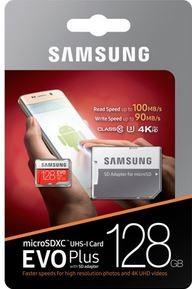 TARJETA MICROSD XC + ADAPTADOR SAMSUNG EVO PLUS - 128GB - CLASE 10 - 100MB/S